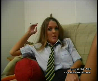 Naughty schoolgirl smoking a cigarette and a steaming wet pussy that wants and gets a good fucking from her dildo.